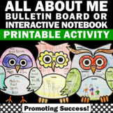 All About Me Bulletin Board, Owl Themed Classroom, Back to School Craftivity