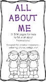 All About Me Packet - 16 Page Activity for Back to School