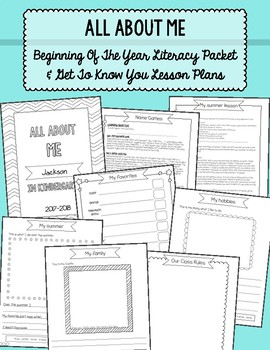 All About Me Packet: Beginning of Year Get to Know You Writing & Games