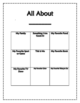 All About Me Page: A Take Home Activity