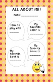 All About Me Page - Social Skills