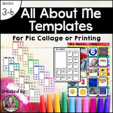 All About Me Page or Template for 3-6: For Pic Collage or Printing