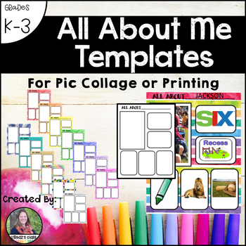 All About Me Page or Template for K-3: For Pic Collage or Printing