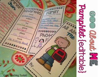 All About Me Pamphlet {editable}