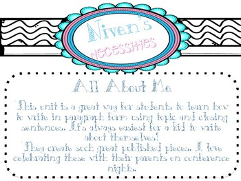 All About Me Paragraph Writing
