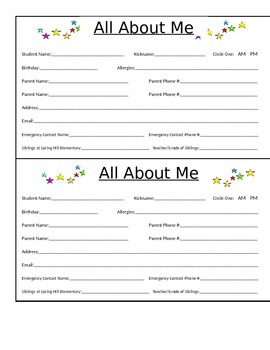 All About Me- Parent Information