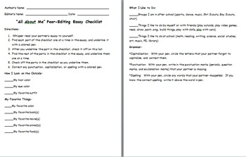 All About Me Peer-Editing Rubric