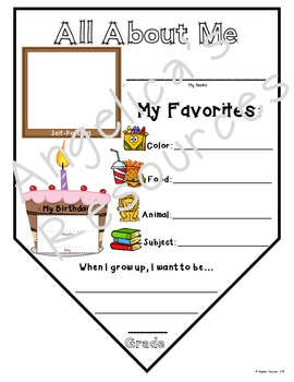 All About Me Pennant : Back to School Activity