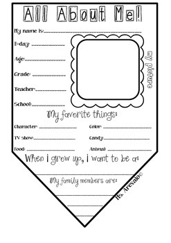 All About Me Pennant Banner Activity