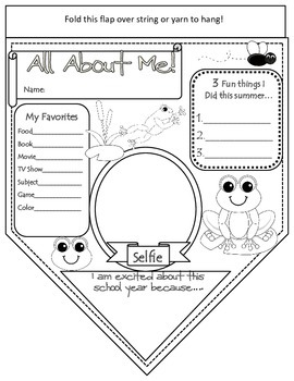 All About Me Pennant Banner- Back to School- Frog Theme