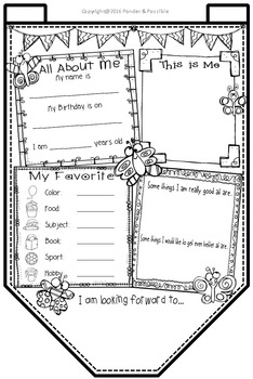 All About Me Bunting ~ Butterfly Theme ~ Great Back to School Activity