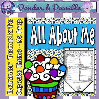 All About Me Bunting ~ Cupcake Theme ~ Great Back to School Activity