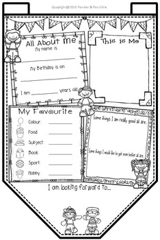 All About Me Bunting ~ Happy Kids Theme ~ Great Back to School Activity