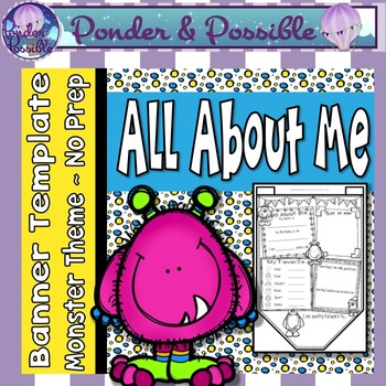 All About Me Bunting ~ Monster Theme ~ Great Back to Schoo
