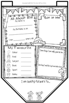 All About Me Bunting ~ School Kids Theme ~ Great Back to School Activity