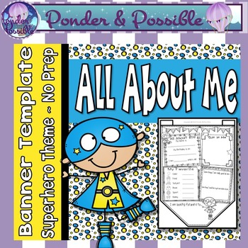 All About Me Bunting ~ Superhero Theme ~ Great Back to Sch