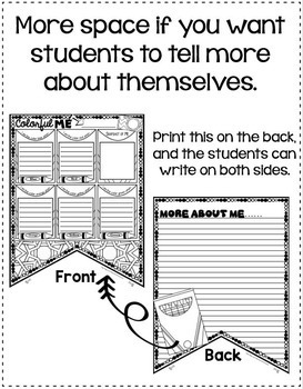 All About Me Pennant: Back to School Writing: First Week Activity