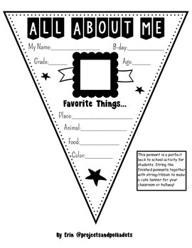 All About Me Pennant FREEBIE!