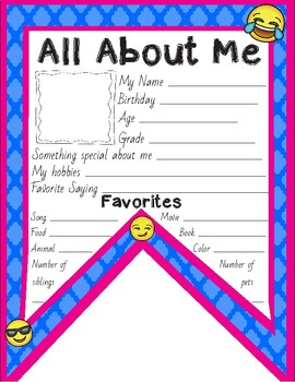 All About Me Pennant Flag - Color and Black & White