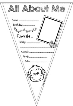 All About Me Pennant Monkey Version