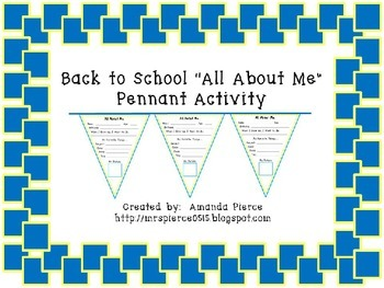 All About Me Pennant for Back to School