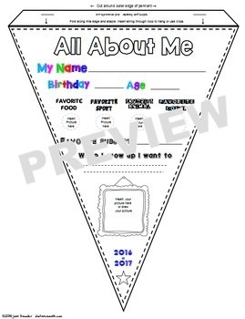 All About Me Pennants GOOGLE Edition Design Print Hang