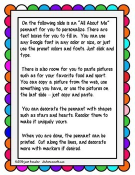 All About Me Pennants Templates for GOOGLE Slides™  Design Print Hang ALL GRADES