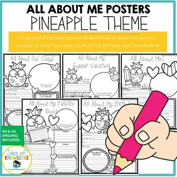 All About Me Pineapple Themed Posters
