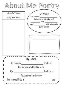 All About Me Poetry - Language Arts - Reading