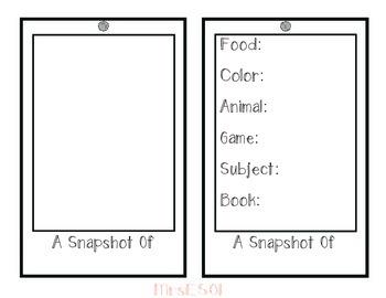 All About Me Polaroid