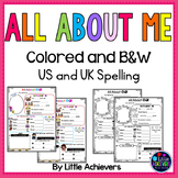 All About Me Poster for Back to School Activities