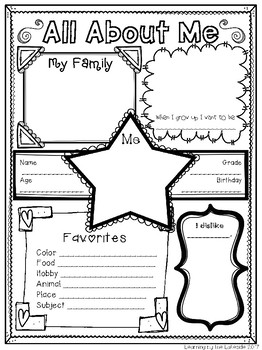 Crafty image in free printable all about me poster