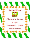 All About Me Poster 4-8th for Getting Acquainted & Great Bulletin Board