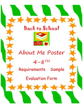 All About Me Poster 4-8th for Getting Acquainted & Great B