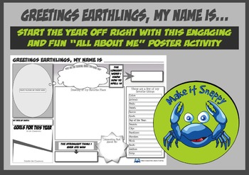 All About Me Poster Activity - Greetings Earthlings