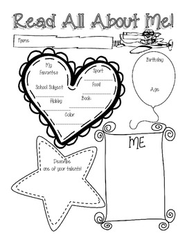 All About Me Poster { Back to School Activity }