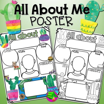 All About Me Poster Cactus Theme 1st grade, 2nd Grade, 3rd grade