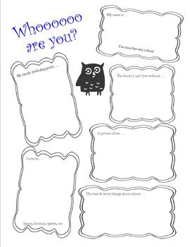 All About Me Poster, Owl Theme