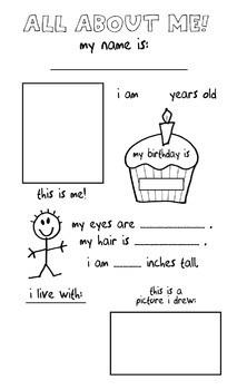 All About Me Poster - Preschool