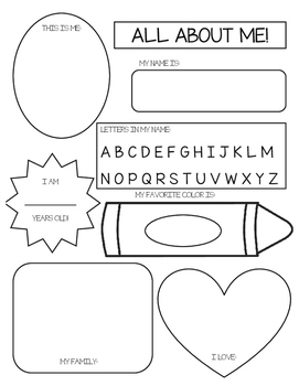 All About Me Worksheet Preschoolers Teachers Pay Teachers