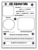 All About Me Poster with goals - star theme