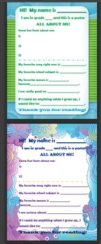 All About Me Posters (7 versions) - Back To School