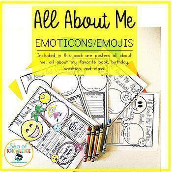 All About Me Worksheets Back to School Posters Bundle