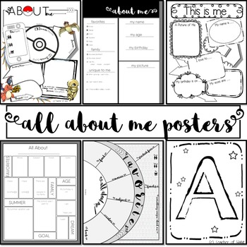 All About Me Posters-NO PREP-First Day of School-BONUS: Bu