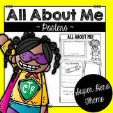All About Me Back to School Posters:  Super Hero Theme