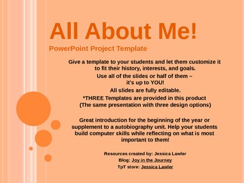 all about me powerpoint templates by joy in the journey by jessica