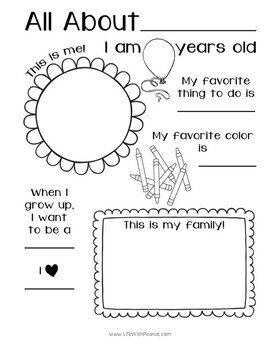 All About Me (Preschool and Kindergarten Activity)