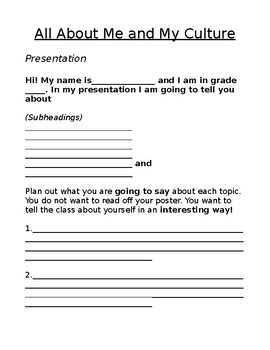 All About Me Presentation Outline Template