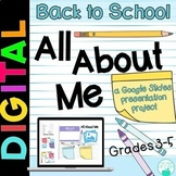 All About Me Presentation Project for Google Slides - School Supply Theme