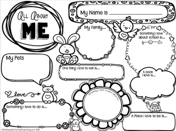 graphic relating to Printable All About Me known as All Pertaining to Me Printable FREEBIE - Whimsy Workshop Education